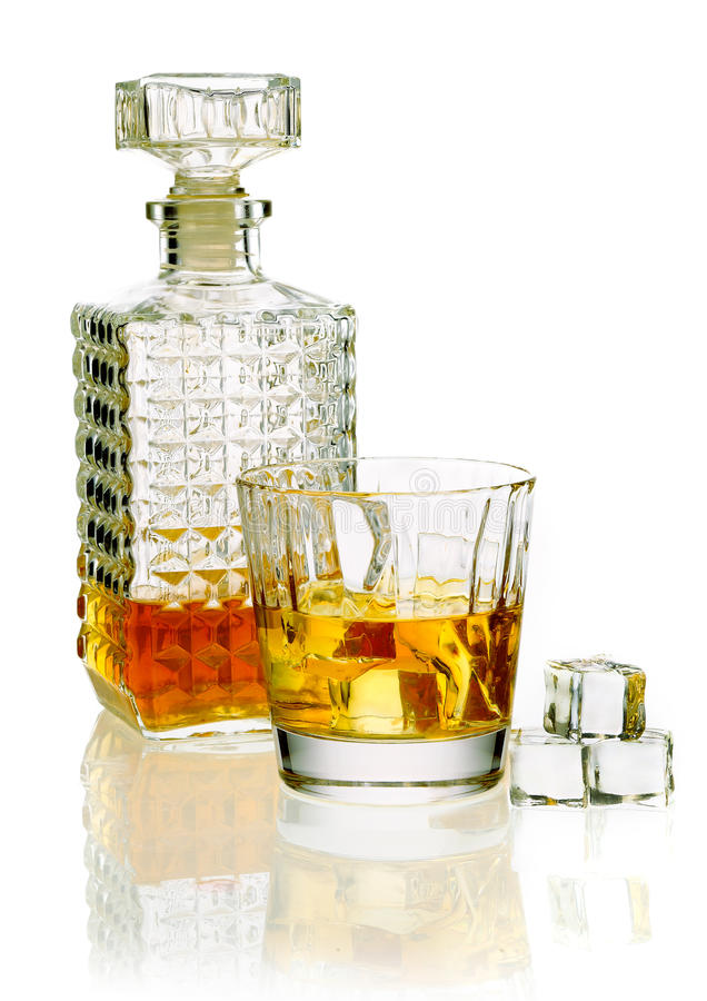 Download Whiskey decanter and glass stock image. Image of original - 26760637