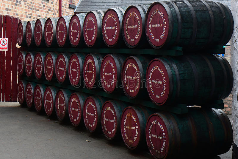 Whiskey distillery, Bushmills, Northern Ireland. Whiskey distillery in Bushmills, Northern Ireland royalty free stock photos