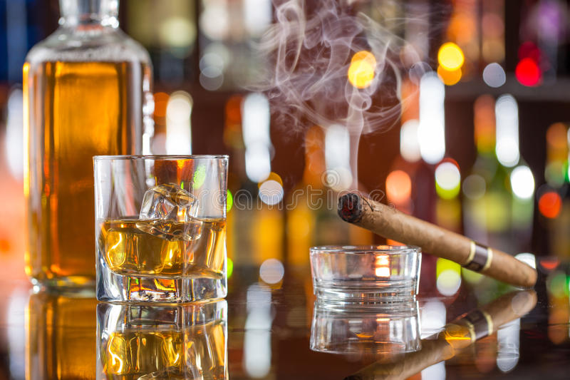 Whiskey drinks on bar counter. stock image