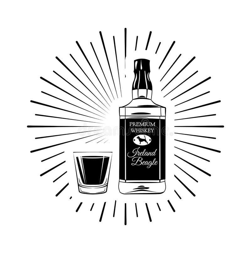 Whiskey en bouteille et verre dans les faisceaux Rétro type Illustration de vecteur illustration libre de droits