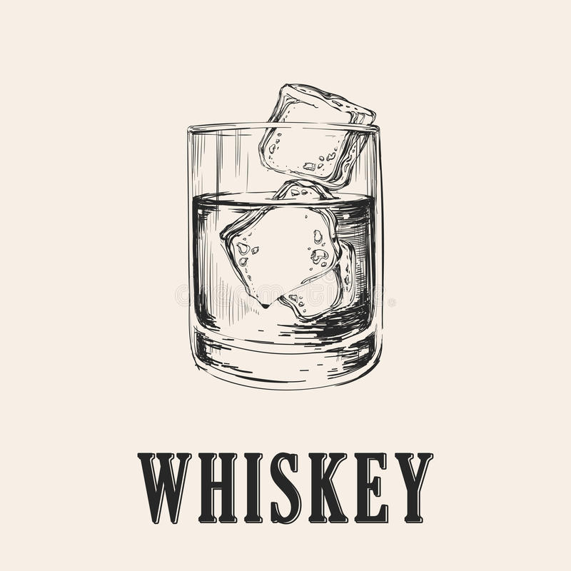 Whiskey Glass. Hand Drawn Drink Vector Illustration.  vector illustration