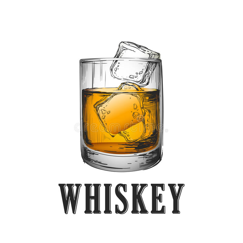 Free Whiskey Glass. Hand Drawn Drink Vector Illustration Royalty Free Stock Photo - 99053445
