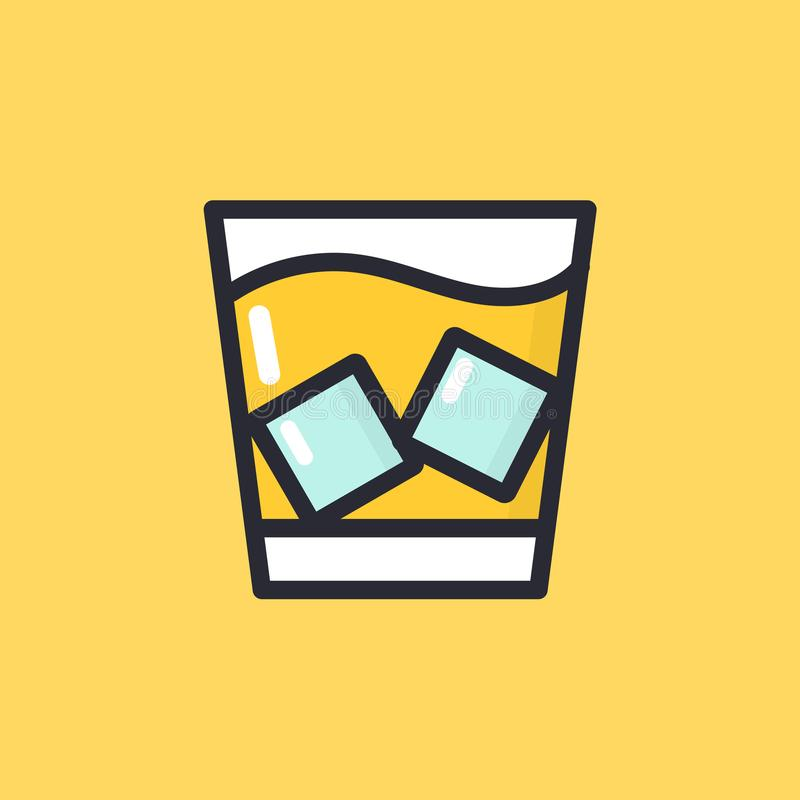 Whiskey glass with ice. Cartoon alcohol icon vector illustration