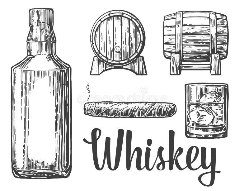 Whiskey glass with ice cubes barrel bottle cigar. Vector vintage illustration. white background stock illustration