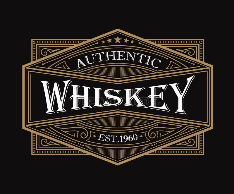 Whiskey label antique frame vintage border engraving western retro. Vector illustration stock illustration