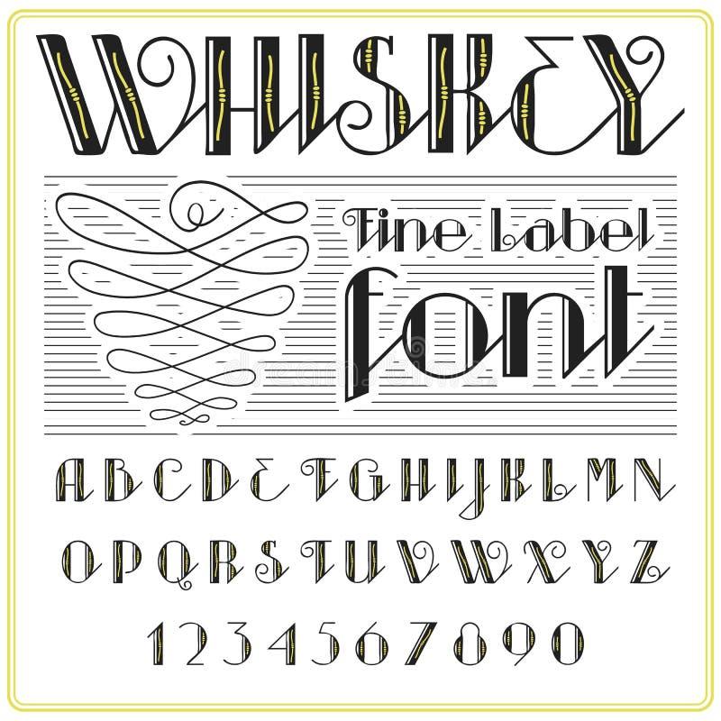Whiskey label font and sample label design. vintage looking typeface in black-gold colors, editable and layered. Whiskey label font and sample label design stock illustration