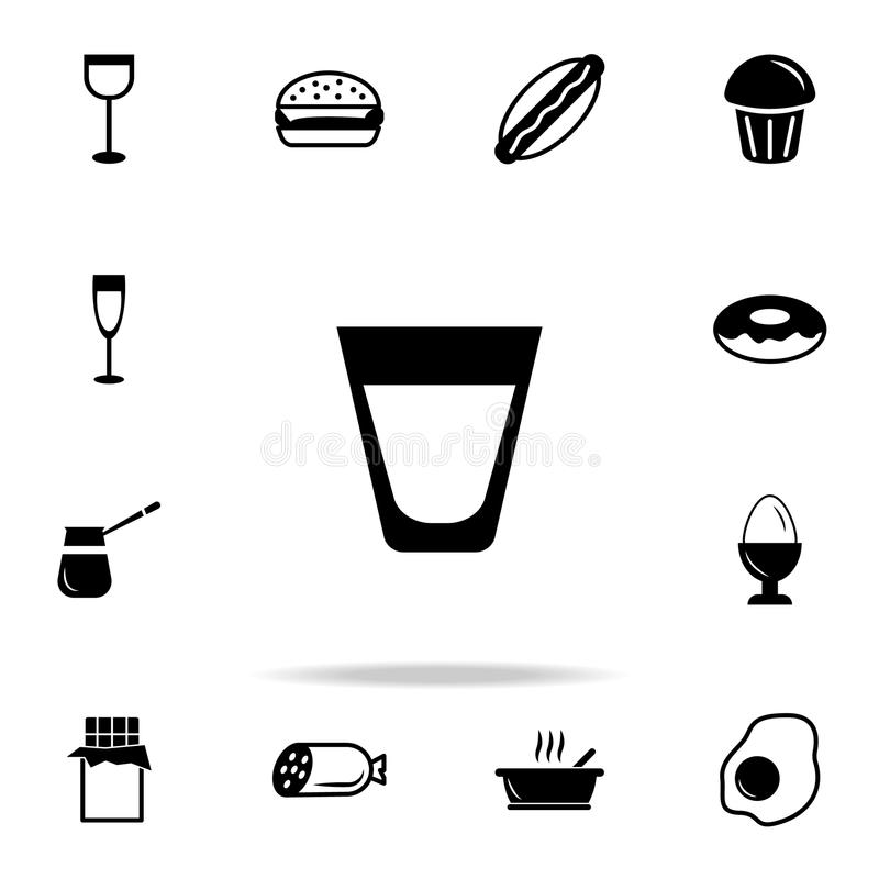 whiskey Skotsk whiskyexponeringsglassymbol Detaljerad uppsättning av mat- och drinksymboler Högvärdig kvalitets- grafisk design E royaltyfri illustrationer