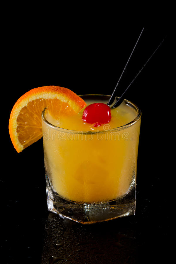 Whiskey sour on the rocks royalty free stock photos