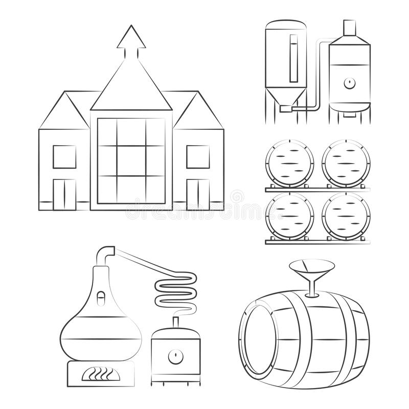 Whiskey thin line icons - outline whisky process logos. Vector illustration stock illustration