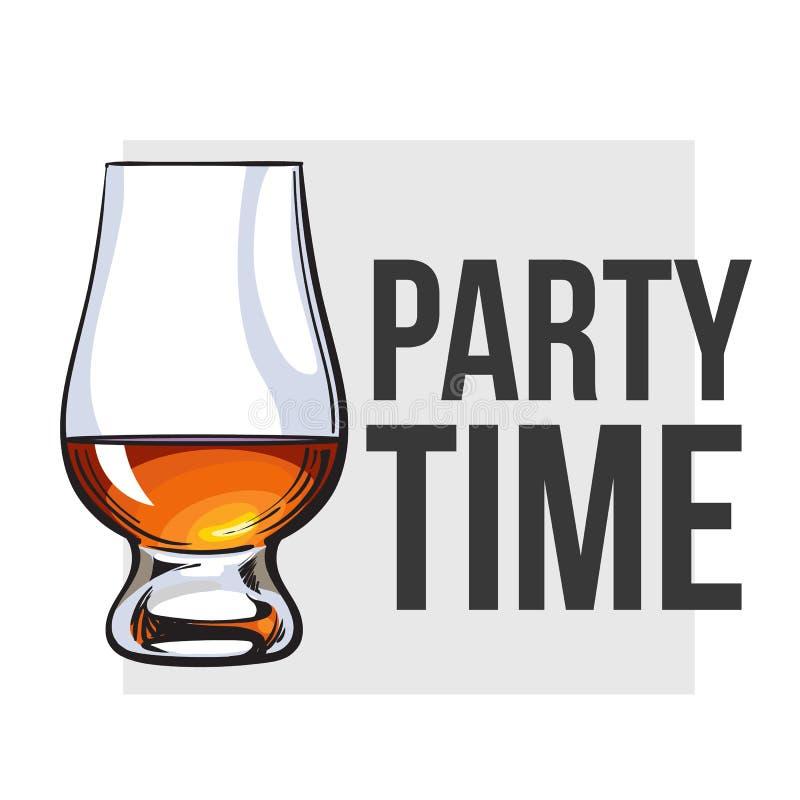 Whisky écossais, rhum, eau-de-vie fine flairant le verre illustration libre de droits