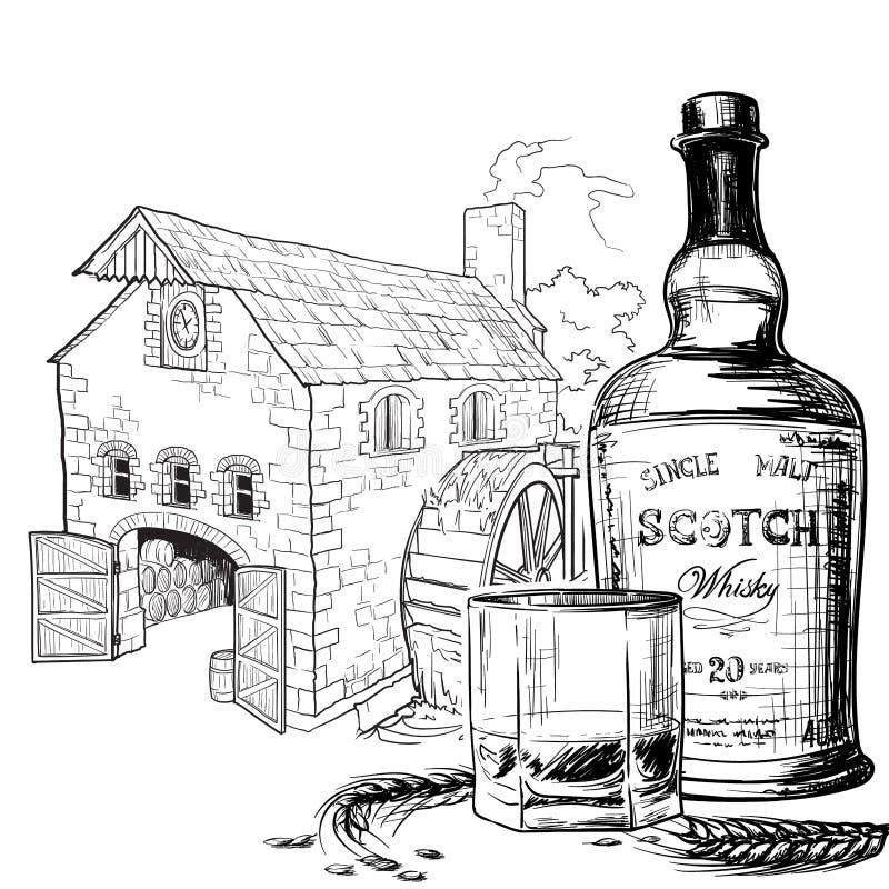 Whisky abzufüllen vom Korn Schwarzweiss-Tintenartzeichnung lokalisiert auf weißem Hintergrund stock abbildung