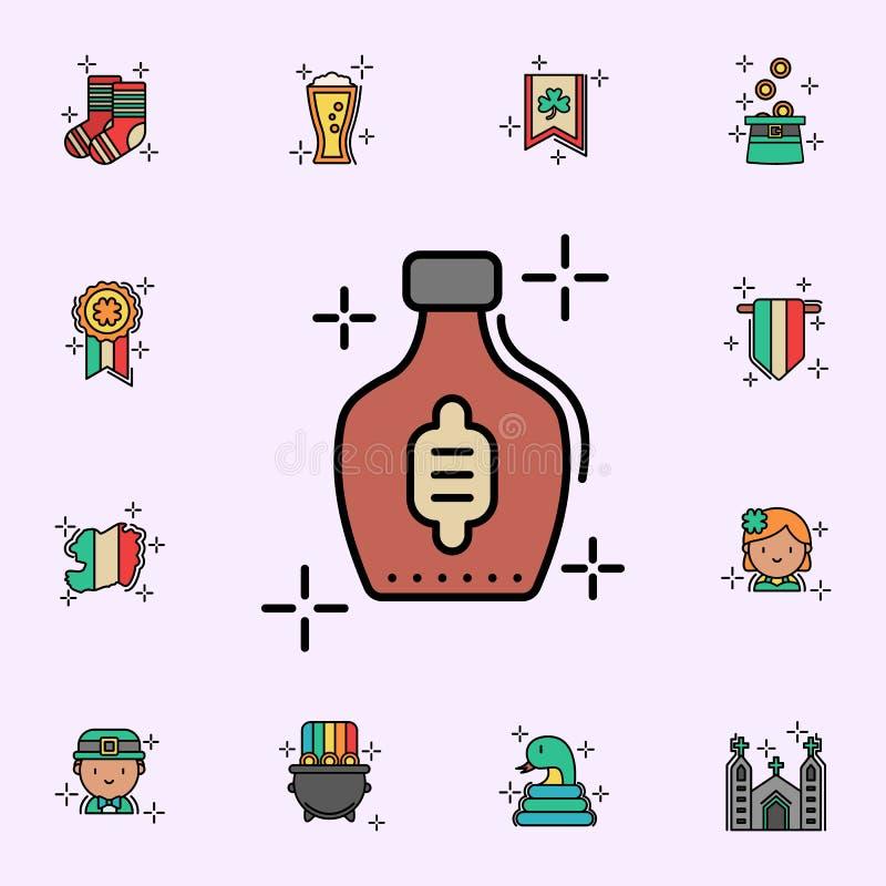 Whisky alkoholsymbol Universell upps?ttning f?r StPatricks dagsymboler f?r reng?ringsduk och mobil vektor illustrationer
