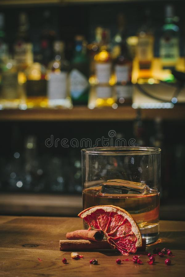 Whisky on bar indoors royalty free stock image