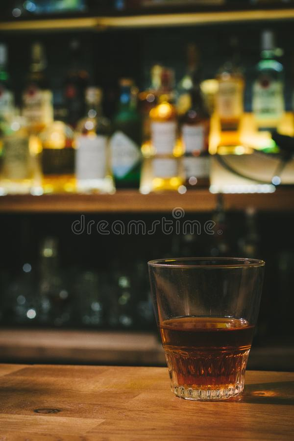 Whisky on bar indoors stock photo