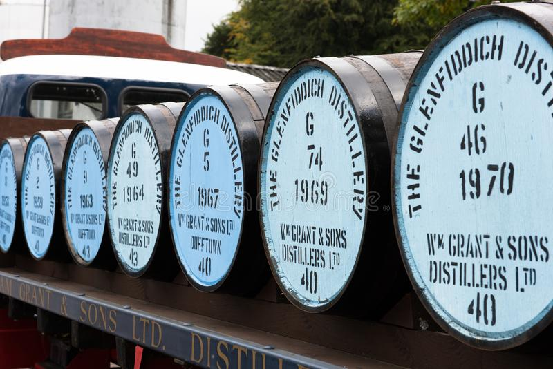 Whisky Barrels at Glenfiddich. The Glenfiddich Distillery in Speyside Scotland is one of the most visited in the world. Tourists can explore the whole process of stock image