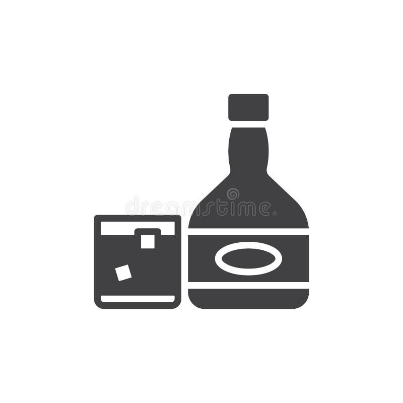 Whisky butelka z szklanym ikona wektorem, wypełniający mieszkanie znak, stały piktogram odizolowywający na bielu ilustracja wektor