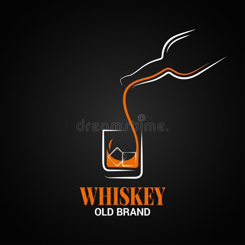 Whisky butelki i szkła logo na czarnym tle ilustracji