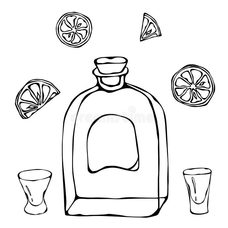 Whisky Cognac eller Brandy Bottle och skottexponeringsglas skissar Med citruns Illustration för drinkTid hand dragen vektor stock illustrationer
