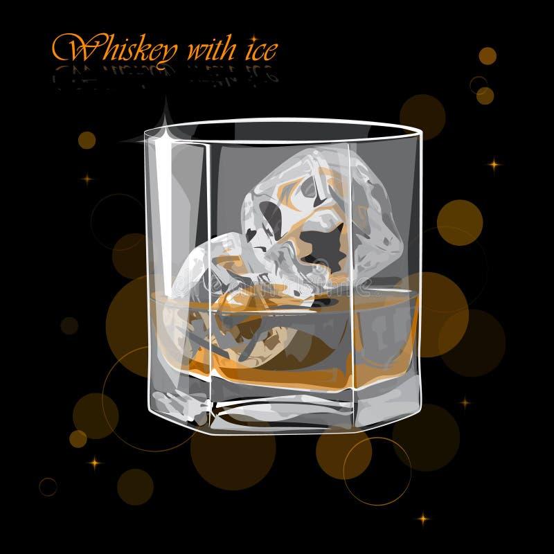 Whisky con hielo Ejemplo del vector de un vidrio de whisky imágenes de archivo libres de regalías