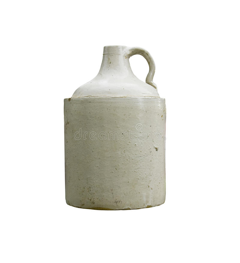 Whisky crock jug isolated. Vintage whisky crock isolated over white with clipping path at this size stock images