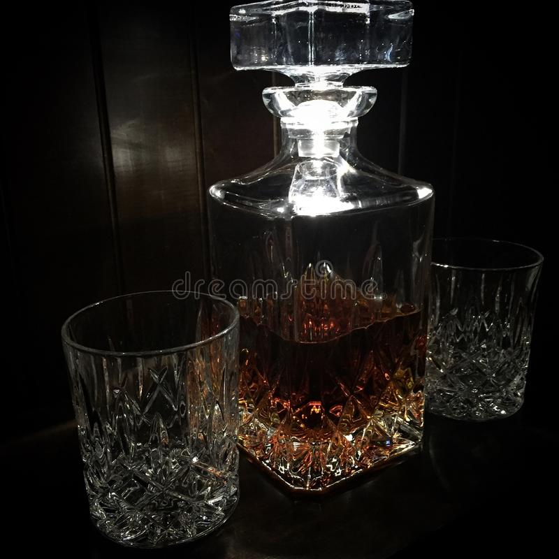 Whisky decanter. Crystal Whisky decanter set stock images