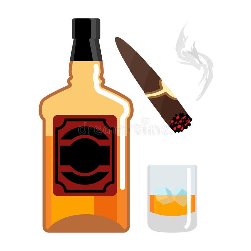 Whisky e ghiaccio Insieme del signore Bottiglia di scozzese Sigaro e fumo illustrazione vettoriale