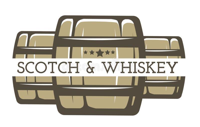 Whisky en Schotse geïsoleerde de drankproductie van de pictogramalcohol royalty-vrije illustratie