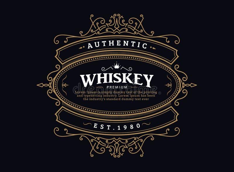 Whisky etykietki rocznika odznaki antykwarska ręka rysujący ramowy retro ilustracji