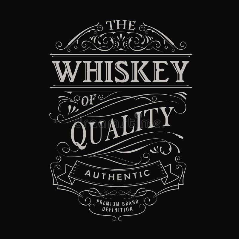Whisky etykietki rocznika typografii blackboard ręka rysująca granica ilustracji