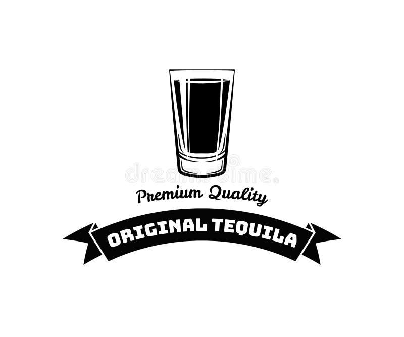 Whisky Geschoten Glas Alcoholkenteken en etiket Vector illustratie vector illustratie