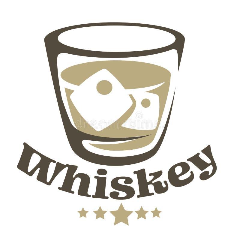 Whisky in glas met de ijs geïsoleerde drank van de pictogramalcohol royalty-vrije illustratie