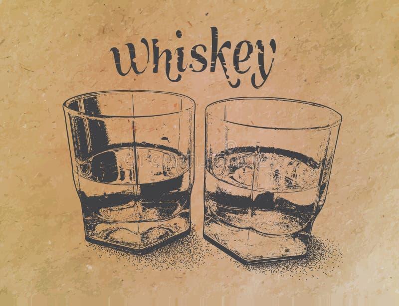 Whisky i exponeringsglas på pappers- bakgrund inristat vektor illustrationer