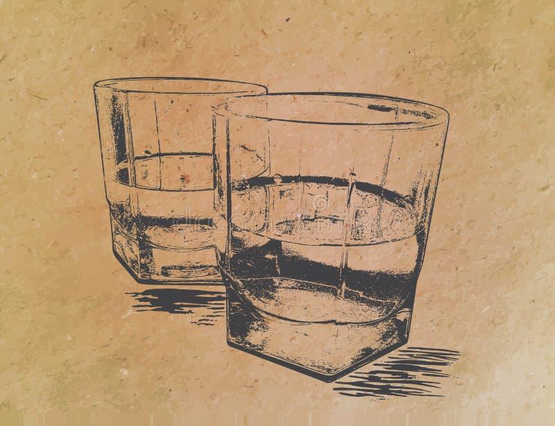 Whisky i exponeringsglas på pappers- bakgrund inristat stock illustrationer