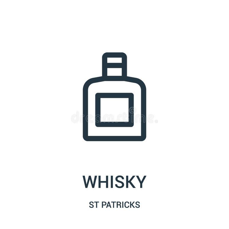 whisky ikony wektor od st patricks inkasowych Cienka kreskowa whisky konturu ikony wektoru ilustracja Liniowy symbol dla używa na royalty ilustracja