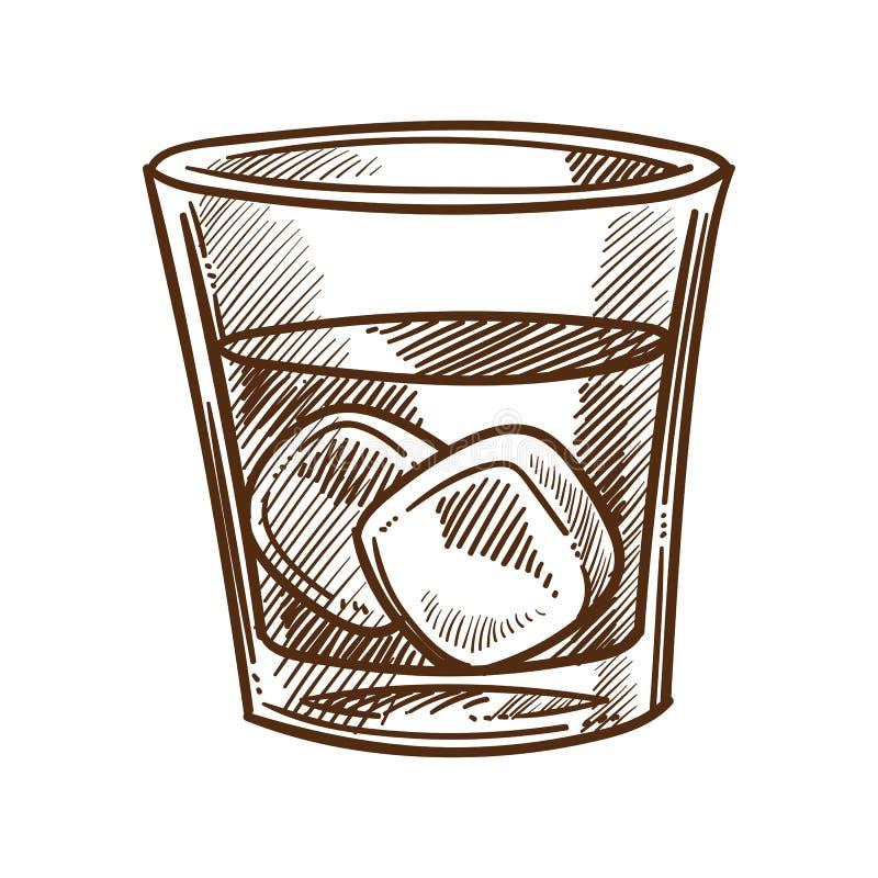 Whisky, kola en ijsblokjes in glas geïsoleerde schets vector illustratie