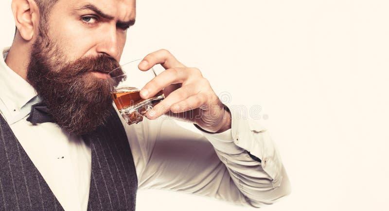Whisky konjak, konjakdrink Brutal skäggig man med exponeringsglas av whisky, konjak, konjak Attraktiv man med en konjak arkivfoton