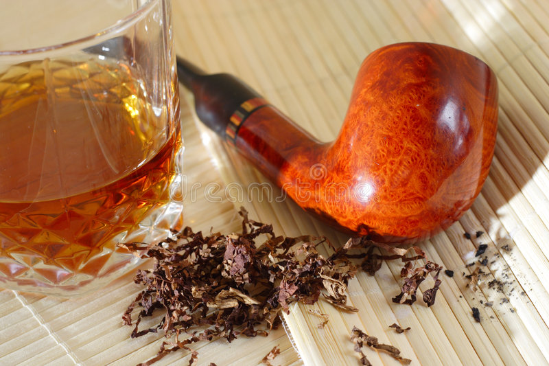 Whisky and the pipe stock photos