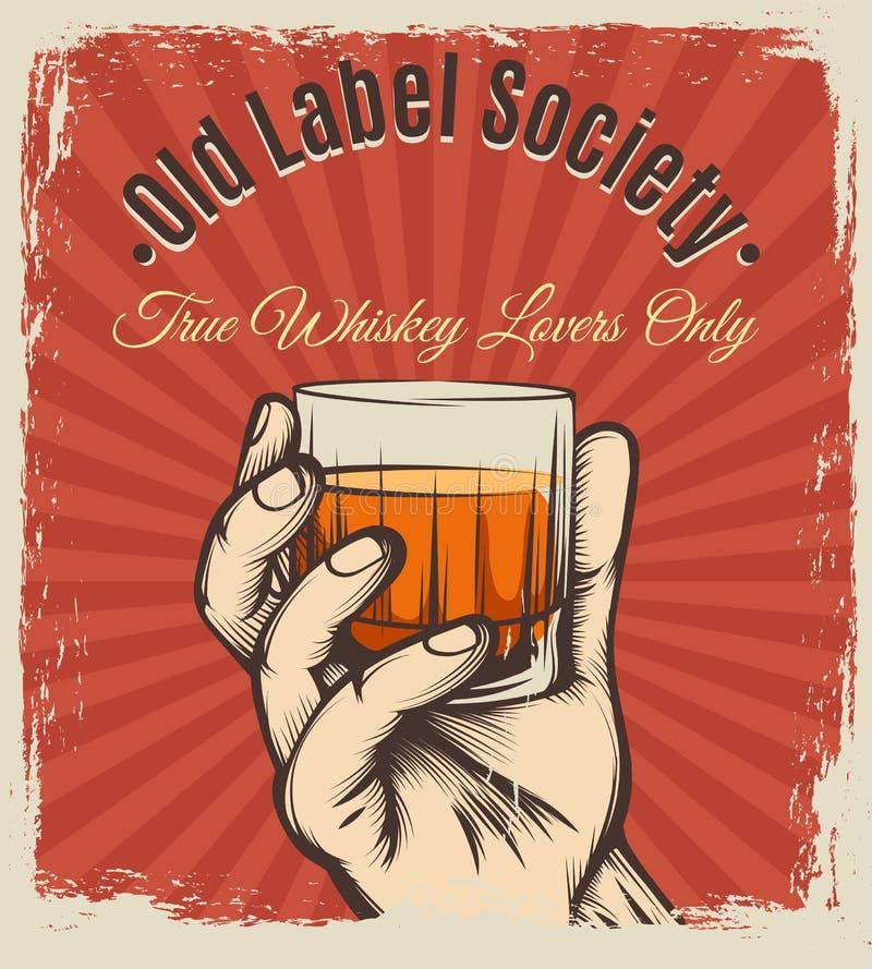 Whisky rocznika plakat ilustracja wektor