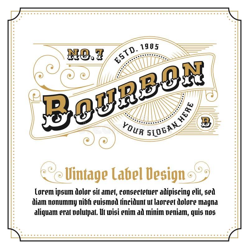 Whisky rocznika ramy loga projekt ilustracji