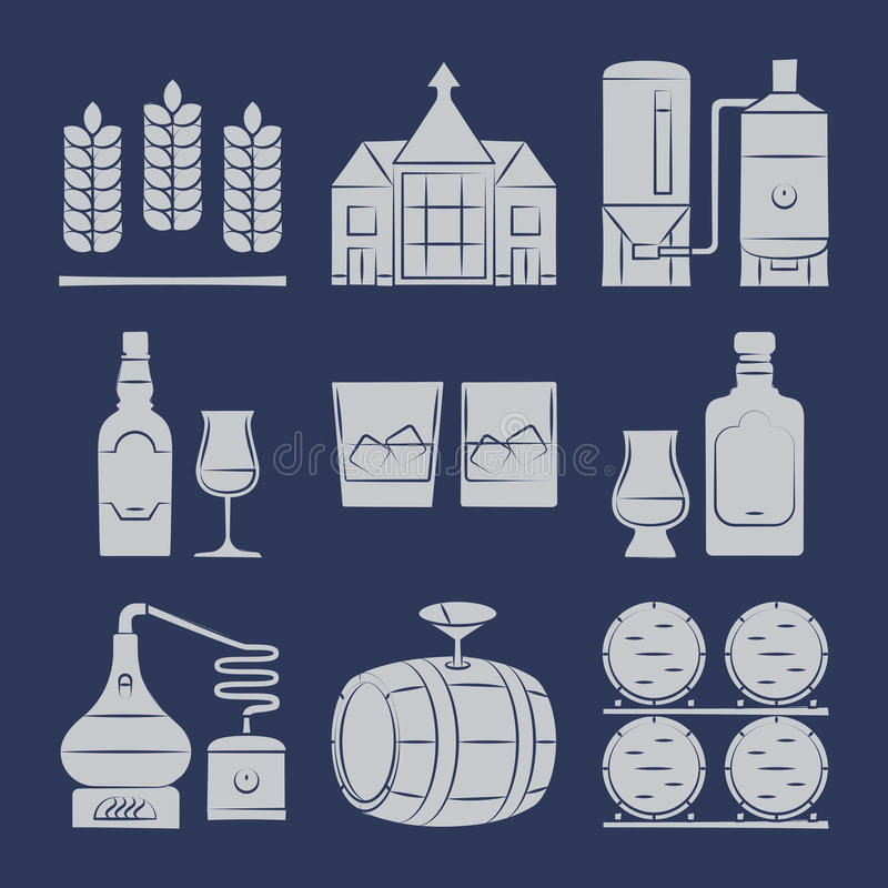 Free Whisky Silhouette Icons Collection On Blue Royalty Free Stock Image - 97209246