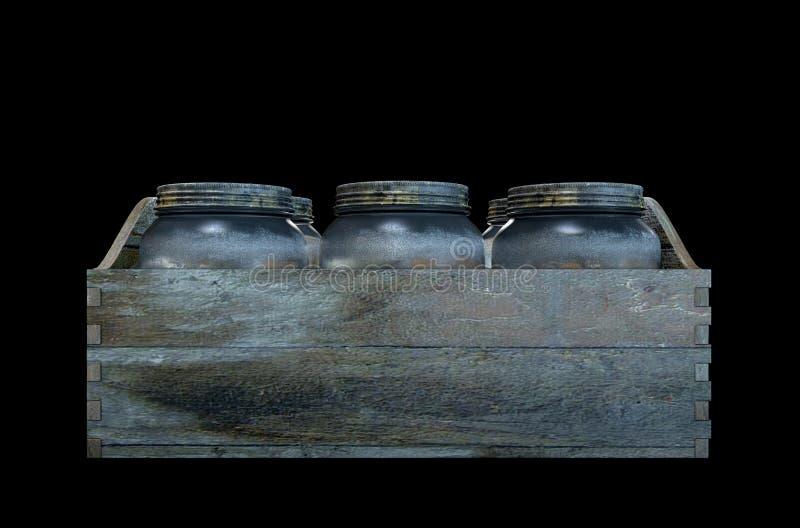 Whisky skorrar i en spjällåda royaltyfri illustrationer