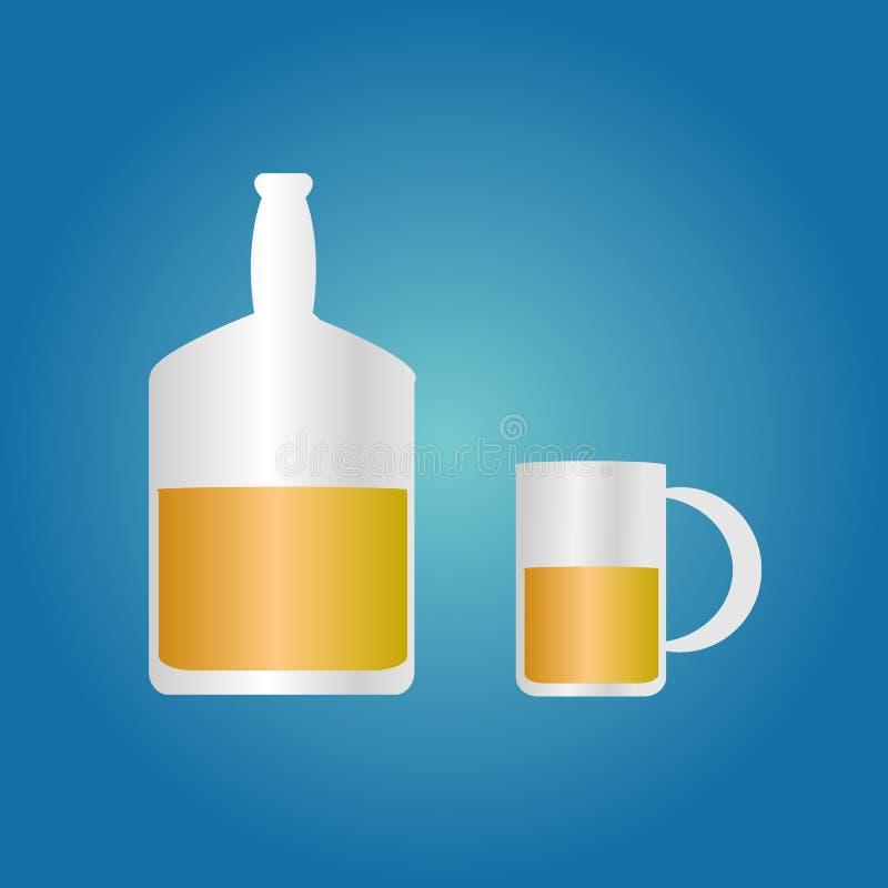 Whisky soku piwna butelka i szkło wypełnialiśmy z ciekłą ilustracją na błękitnym tle ilustracja wektor