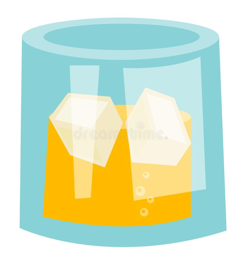 Whisky szkło z kostka lodu wektoru kreskówką ilustracji