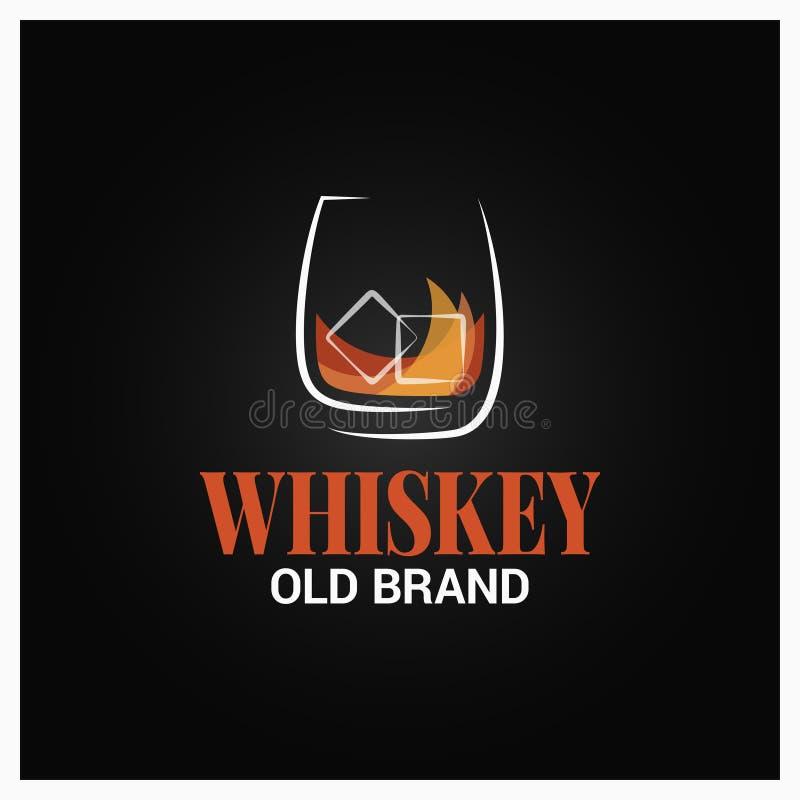 Whisky szkło z lodowym logo Gatunek whisky projekt na czarnym tle ilustracja wektor