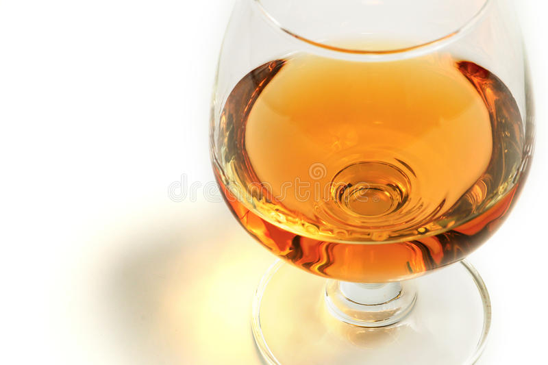 Whiskybrandewijn in glas royalty-vrije stock foto's