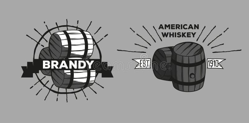 Whiskybrandewijn logotypes royalty-vrije illustratie