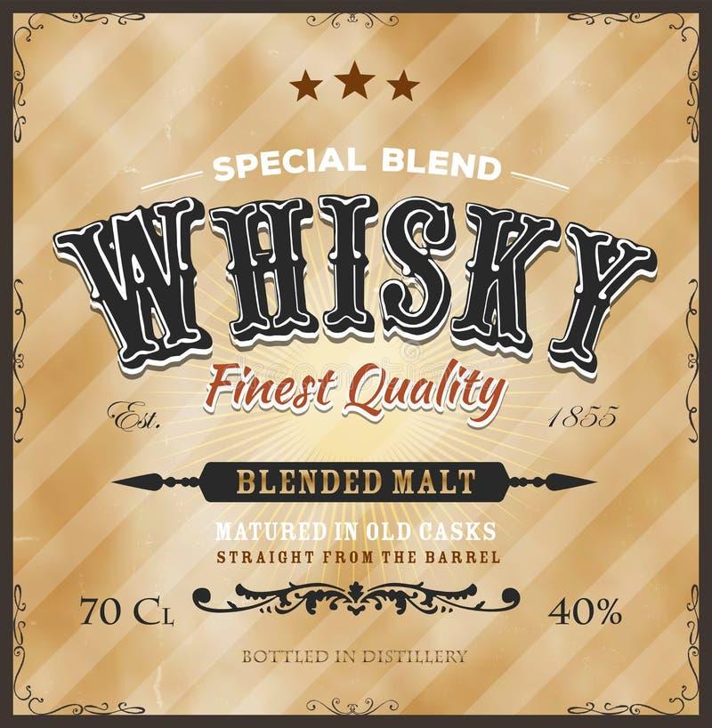 Whiskyetikett för flaska royaltyfri illustrationer