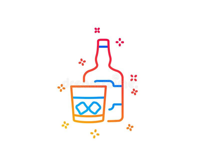 Whiskyexponeringsglas med linjen symbol f?r iskuber Skotsk whiskyalkoholtecken vektor stock illustrationer