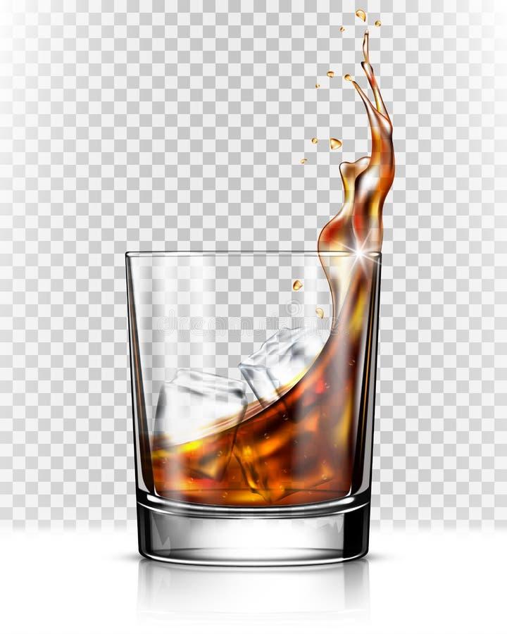 Whiskyfärgstänk ut ur exponeringsglas royaltyfri illustrationer