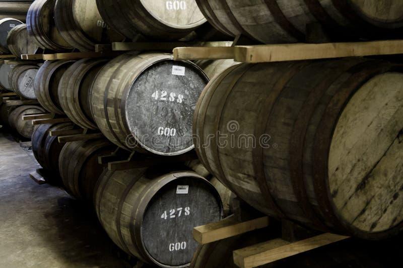 Whiskyfässer in einer Brennerei lizenzfreie stockfotografie